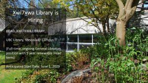 Job Posting: Head – Xwi7xwa Library