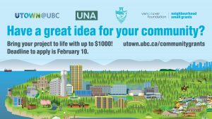 UTown@UBC $1,000 Community Grant, due February 10!