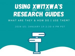 Using Xwi7xwa Library's Research Guides